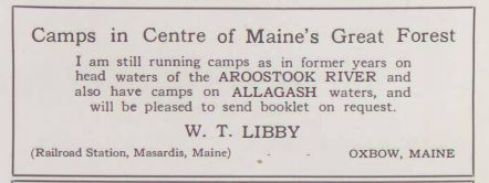 In the Maine Woods - W.T. Libby Ad 1927